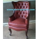 French Classic furniture Lounge Chair With Red Leather UpholsteryFre