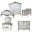 PAINTED FURNITURE OF HEAVY CARVED BED FRENCH DESIGN
